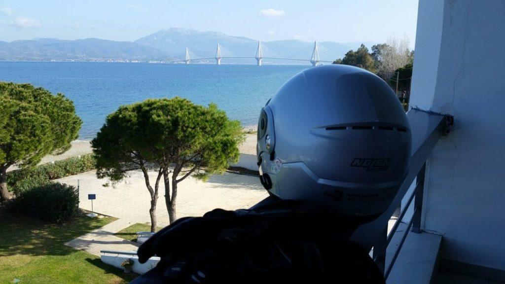 greece motorbike travel rio antirrio bridge