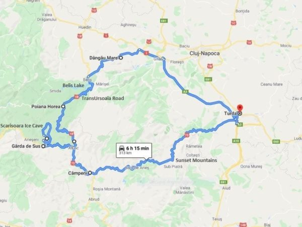transursoaia road motorcycle tour map