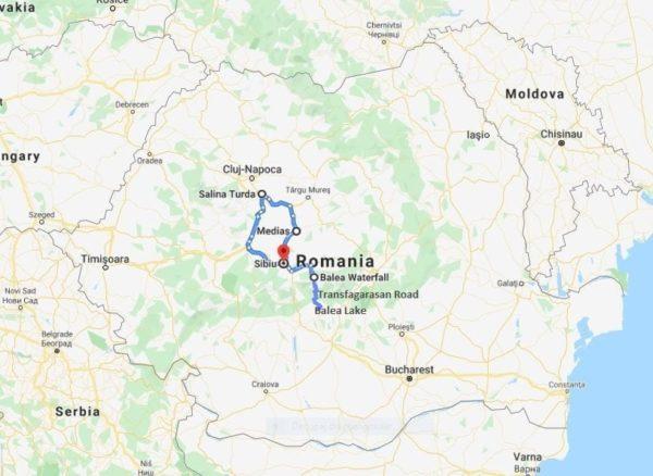 transylvania motorcycle tour map