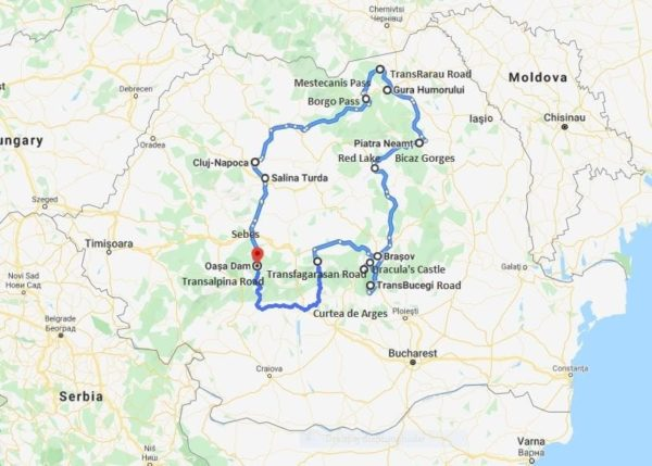 best of romania motorcycle tour map