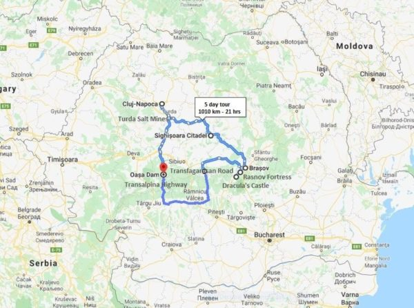 dracula motorcycle tour in transylvania map