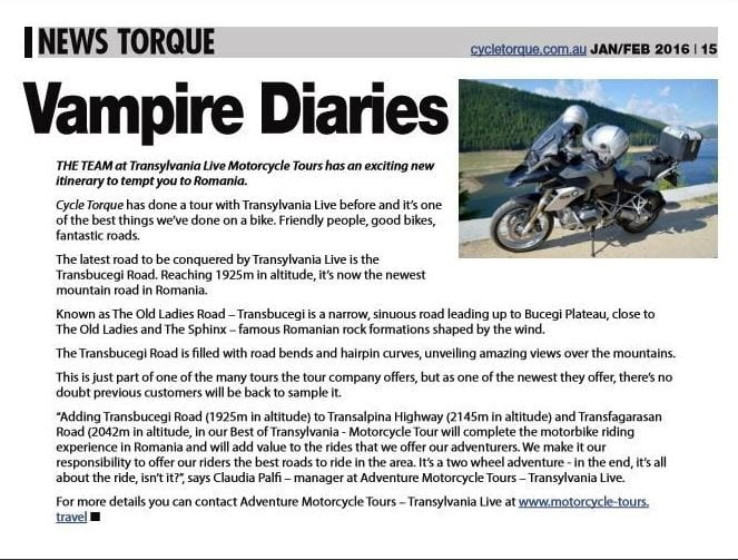 transylvania motorcycle tours in the press Cycle Torque