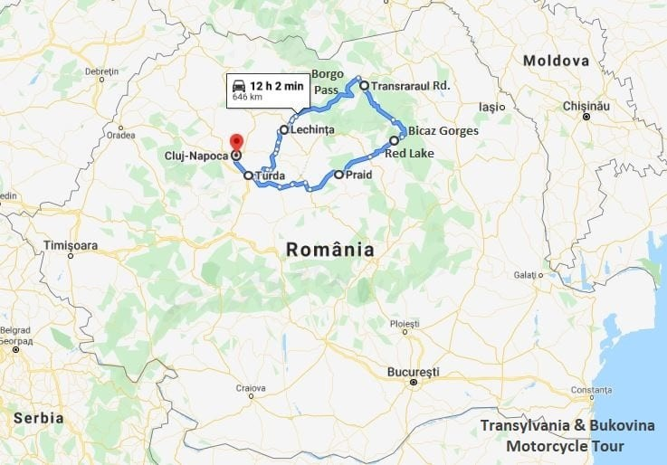 Transylvania & Bukovina motorcycle tour map